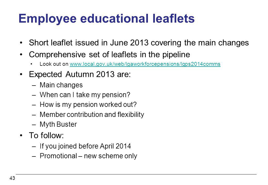 Employee educational leaflets Short leaflet issued in June 2013 covering the main changes Comprehensive set of leaflets in the pipeline Look out on ww