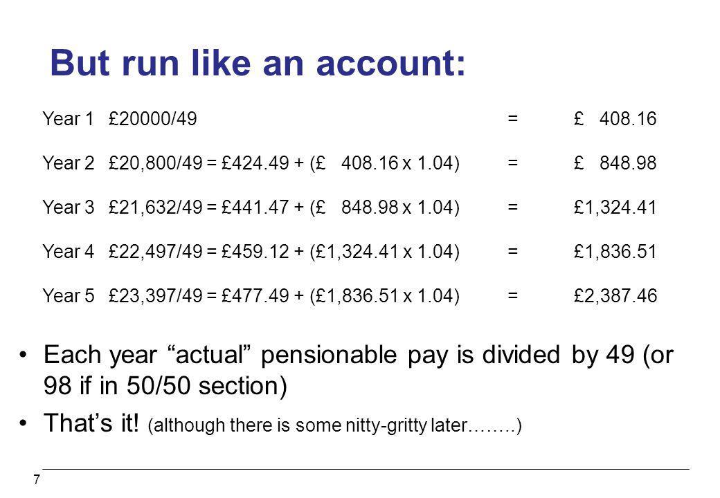 But run like an account: 7 Year 1£20000/49=£ 408.16 Year 2£20,800/49 = £424.49 + (£ 408.16 x 1.04)=£ 848.98 Year 3£21,632/49 = £441.47 + (£ 848.98 x 1