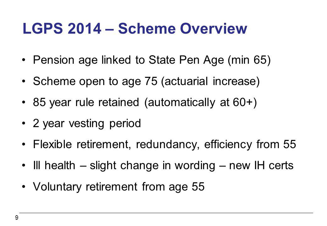 9 LGPS 2014 – Scheme Overview Pension age linked to State Pen Age (min 65) Scheme open to age 75 (actuarial increase) 85 year rule retained (automatic