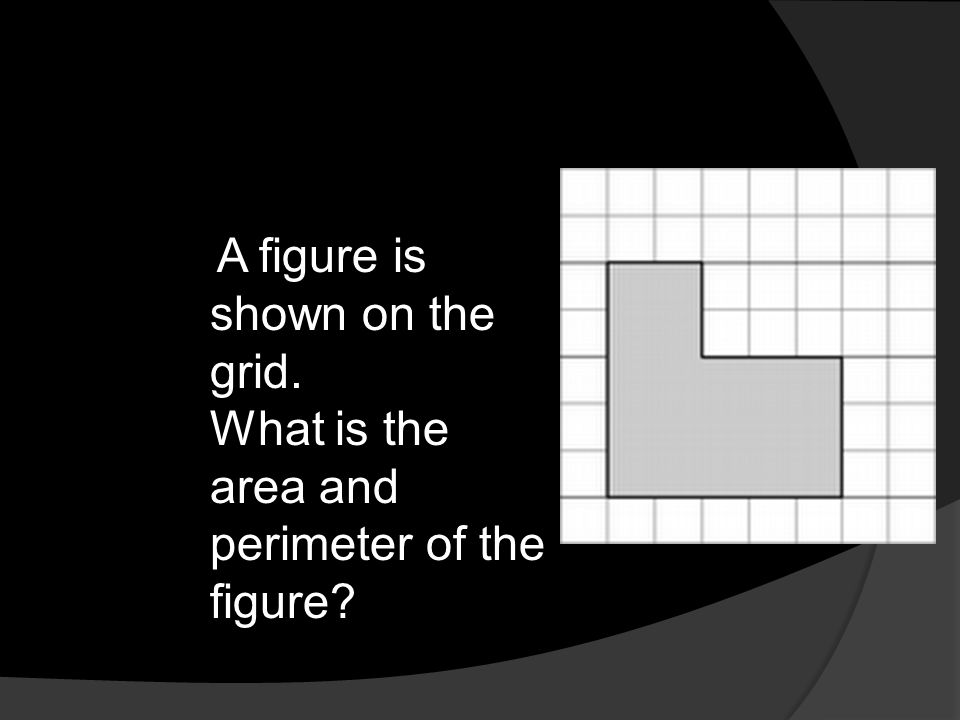 A figure is shown on the grid. What is the area and perimeter of the figure?