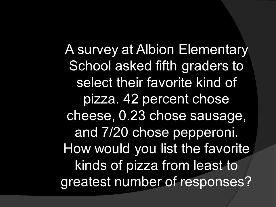 A survey at Albion Elementary School asked fifth graders to select their favorite kind of pizza. 42 percent chose cheese, 0.23 chose sausage, and 7/20