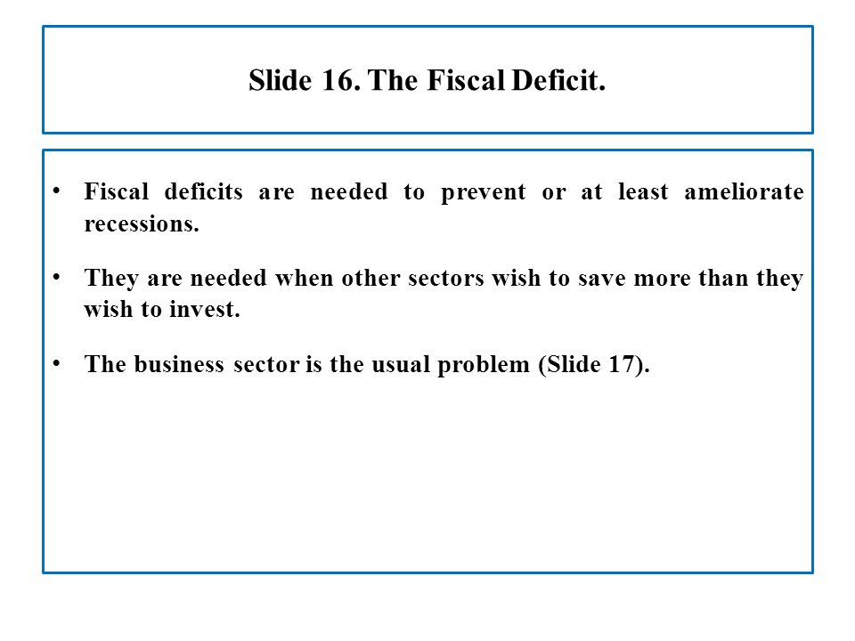Slide 16. The Fiscal Deficit.