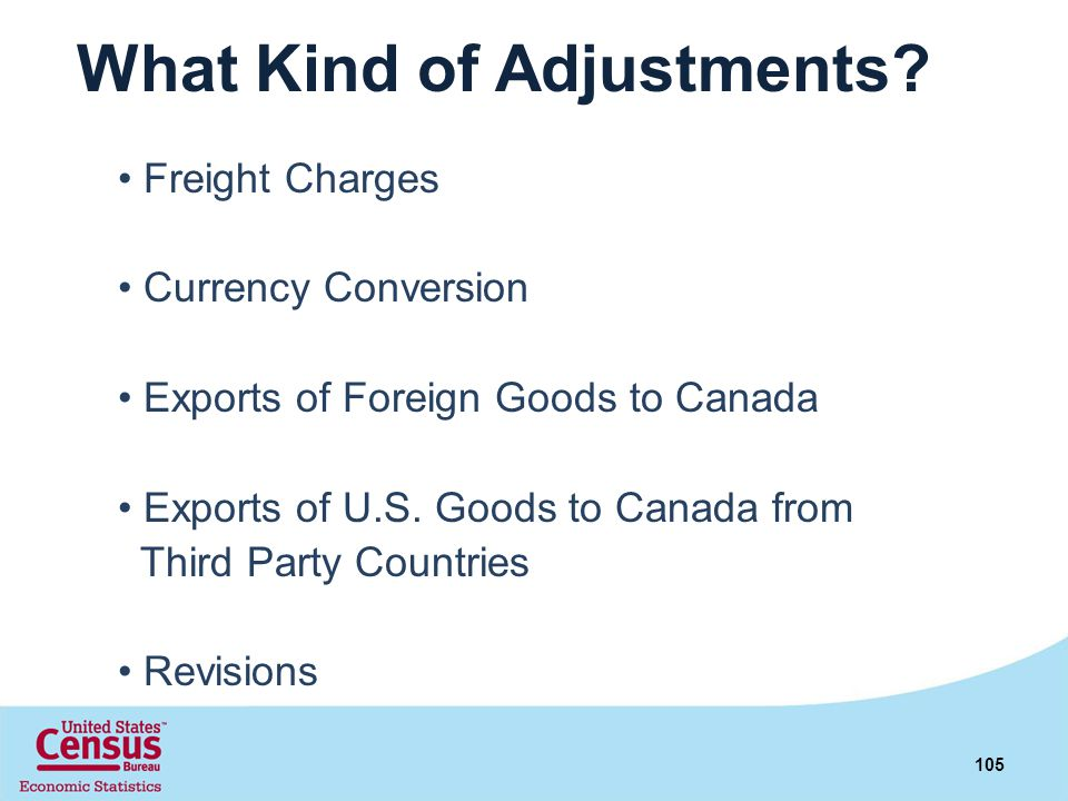 What Kind of Adjustments? Freight Charges Currency Conversion Exports of Foreign Goods to Canada Exports of U.S. Goods to Canada from Third Party Coun