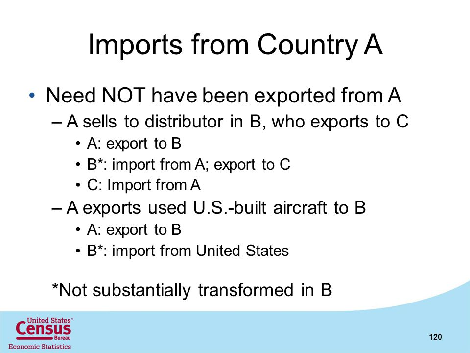 Imports from Country A Need NOT have been exported from A –A sells to distributor in B, who exports to C A: export to B B*: import from A; export to C