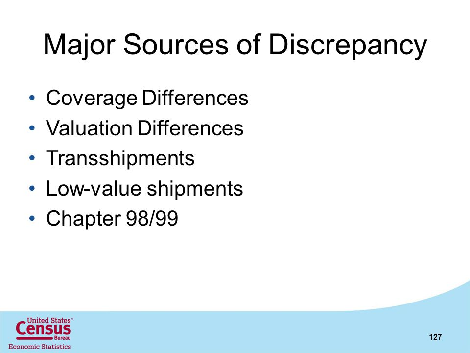 Major Sources of Discrepancy Coverage Differences Valuation Differences Transshipments Low-value shipments Chapter 98/99 127