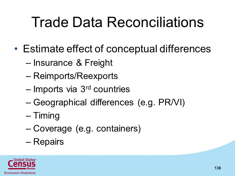 Trade Data Reconciliations Estimate effect of conceptual differences –Insurance & Freight –Reimports/Reexports –Imports via 3 rd countries –Geographic