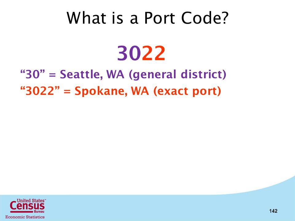 What is a Port Code? 3022 30 = Seattle, WA (general district) 3022 = Spokane, WA (exact port) 142