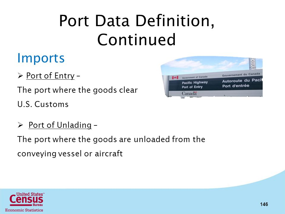 Port Data Definition, Continued Imports Port of Entry – The port where the goods clear U.S. Customs Port of Unlading – The port where the goods are un