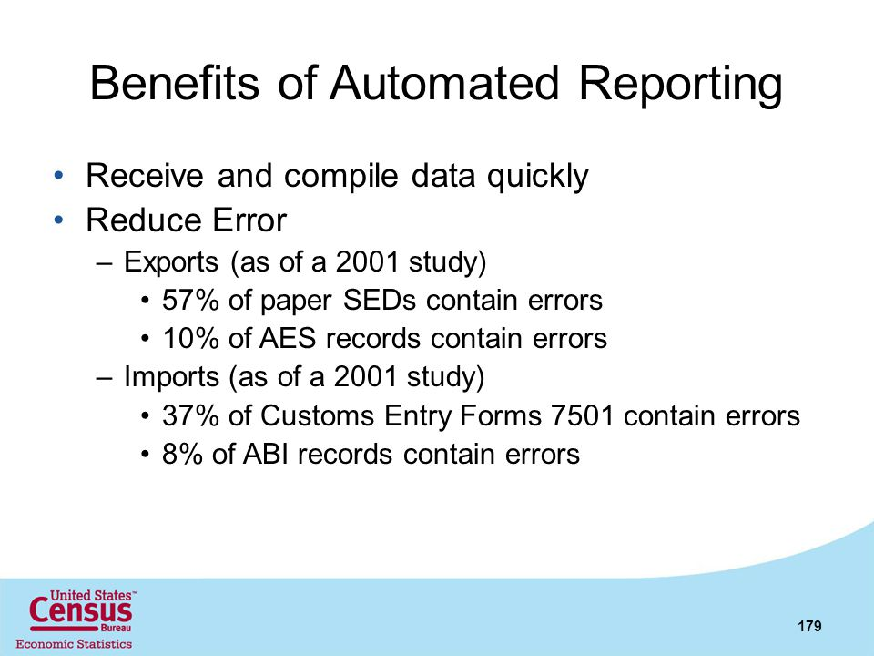 Benefits of Automated Reporting Receive and compile data quickly Reduce Error –Exports (as of a 2001 study) 57% of paper SEDs contain errors 10% of AE