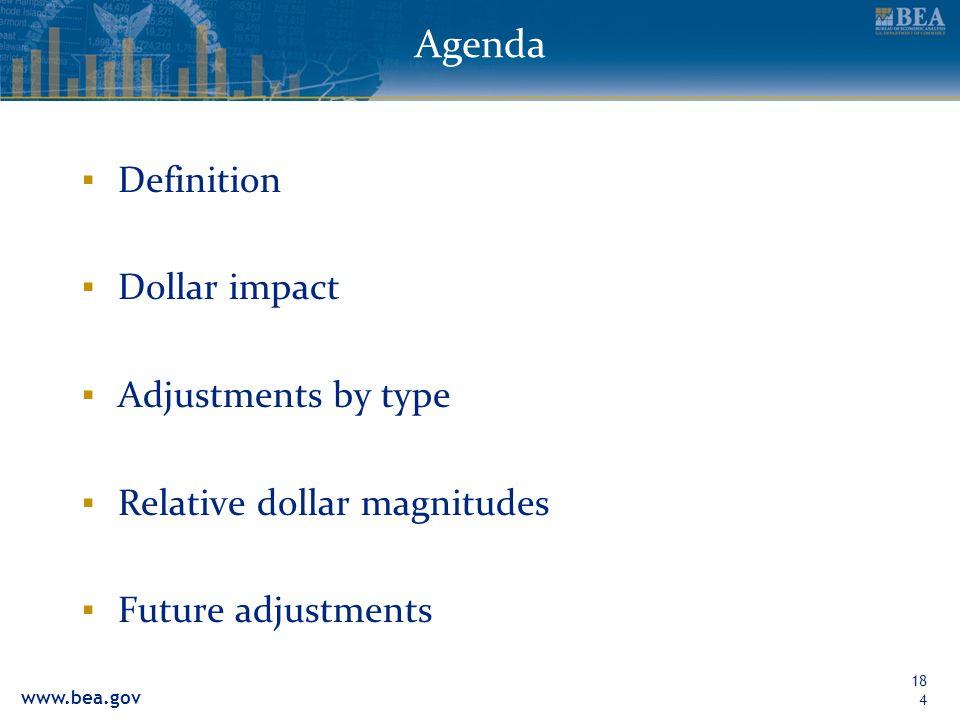 www.bea.gov Agenda Definition Dollar impact Adjustments by type Relative dollar magnitudes Future adjustments 184