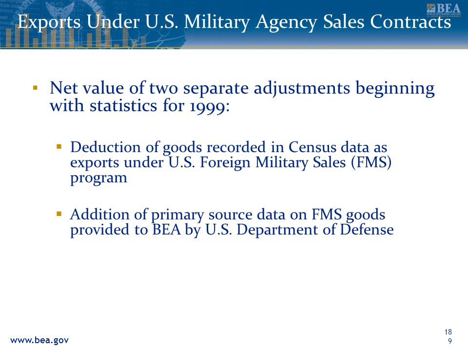 www.bea.gov 189 Exports Under U.S. Military Agency Sales Contracts Net value of two separate adjustments beginning with statistics for 1999: Deduction