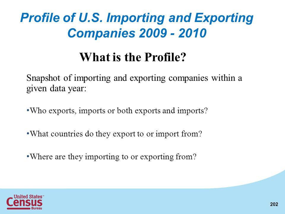Snapshot of importing and exporting companies within a given data year: Who exports, imports or both exports and imports? What countries do they expor