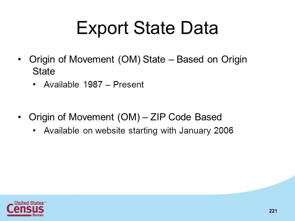 Export State Data Origin of Movement (OM) State – Based on Origin State Available 1987 – Present Origin of Movement (OM) – ZIP Code Based Available on