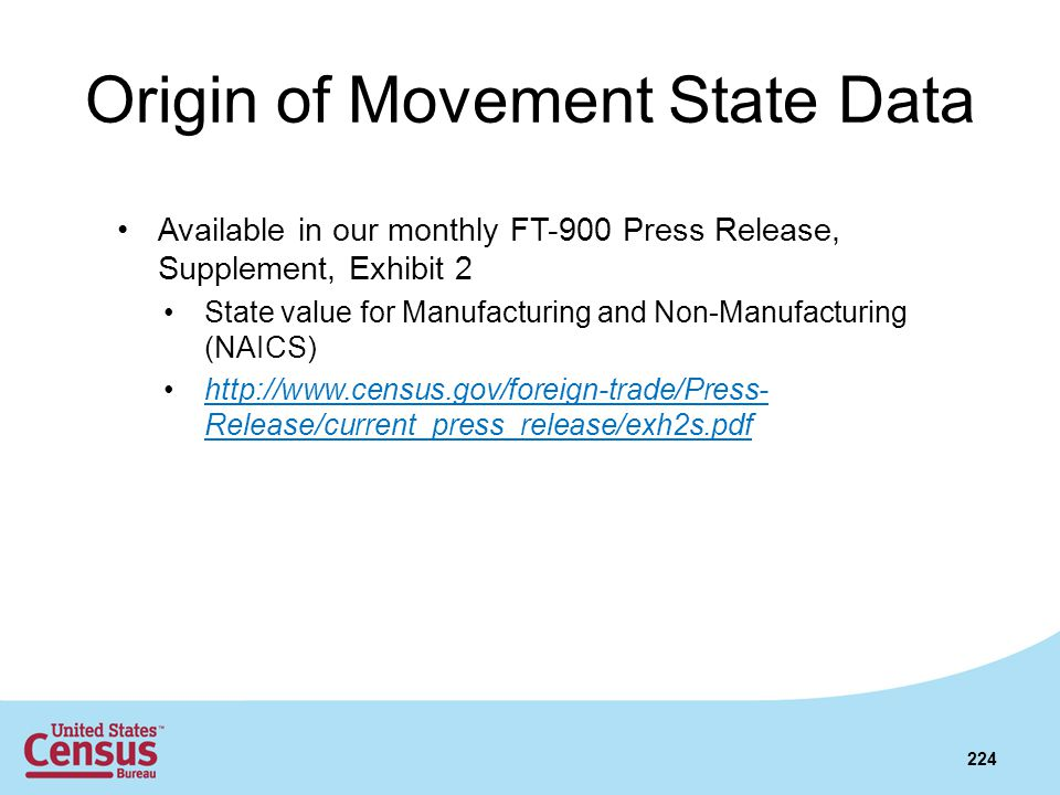 Origin of Movement State Data Available in our monthly FT-900 Press Release, Supplement, Exhibit 2 State value for Manufacturing and Non-Manufacturing