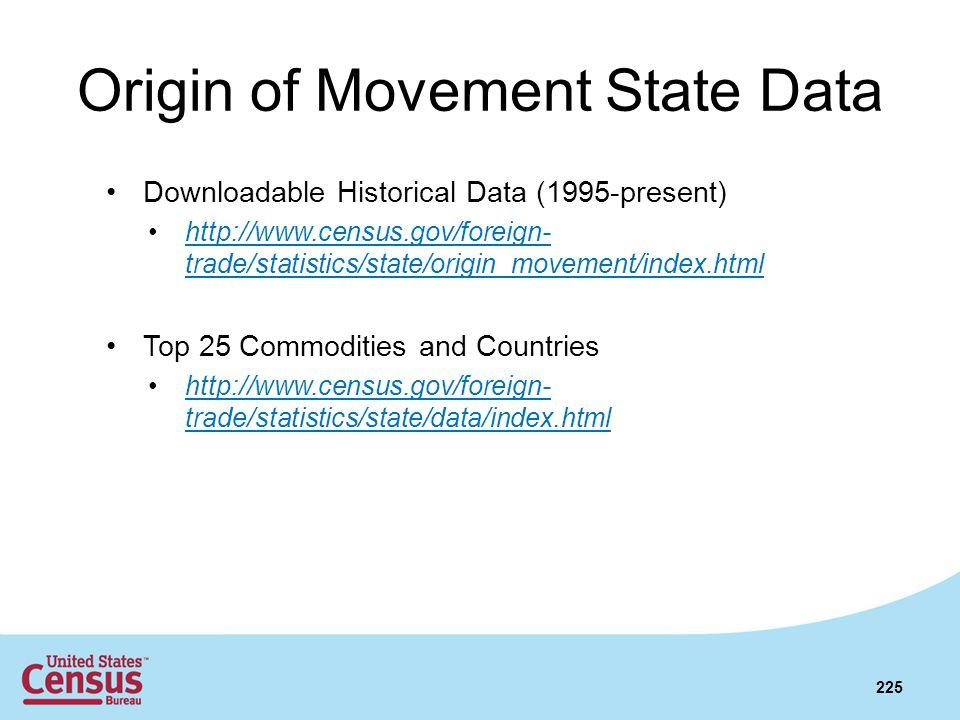 Origin of Movement State Data Downloadable Historical Data (1995-present) http://www.census.gov/foreign- trade/statistics/state/origin_movement/index.