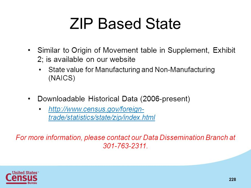 ZIP Based State Similar to Origin of Movement table in Supplement, Exhibit 2; is available on our website State value for Manufacturing and Non-Manufa