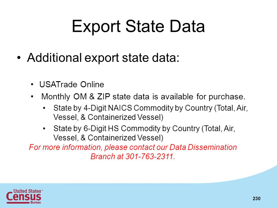 Export State Data Additional export state data: USATrade Online Monthly OM & ZIP state data is available for purchase. State by 4-Digit NAICS Commodit