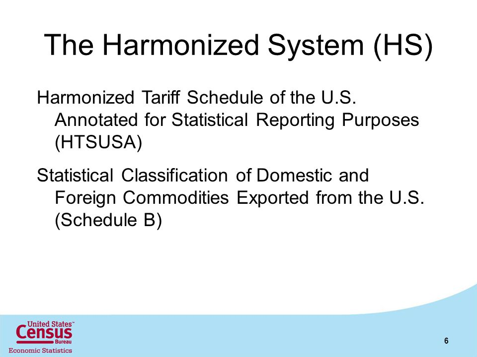 The Harmonized System (HS) Harmonized Tariff Schedule of the U.S. Annotated for Statistical Reporting Purposes (HTSUSA) Statistical Classification of