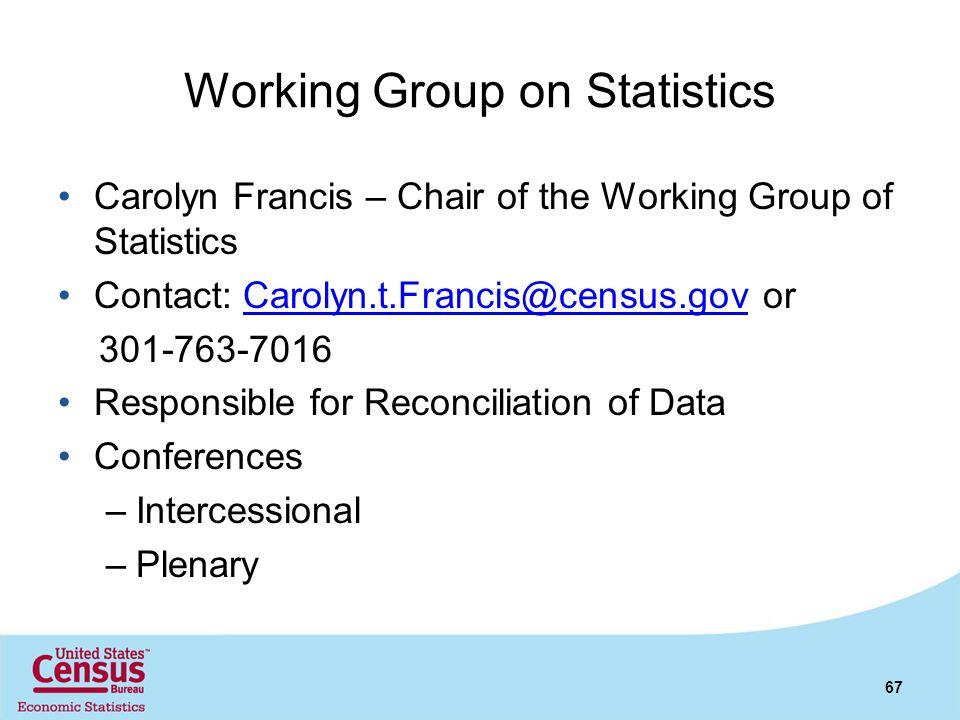 Working Group on Statistics Carolyn Francis – Chair of the Working Group of Statistics Contact: Carolyn.t.Francis@census.gov orCarolyn.t.Francis@censu