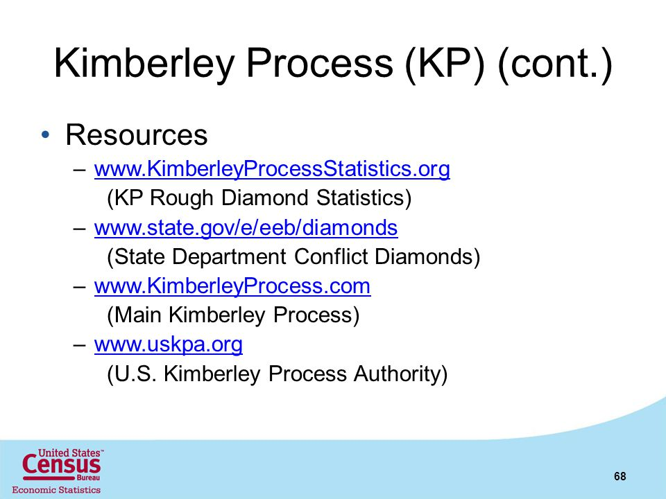 Kimberley Process (KP) (cont.) Resources –www.KimberleyProcessStatistics.orgwww.KimberleyProcessStatistics.org (KP Rough Diamond Statistics) –www.stat