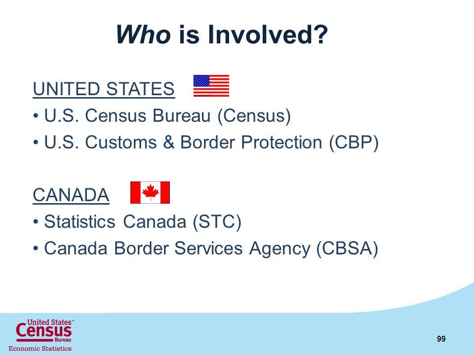 Who is Involved? UNITED STATES U.S. Census Bureau (Census) U.S. Customs & Border Protection (CBP) CANADA Statistics Canada (STC) Canada Border Service