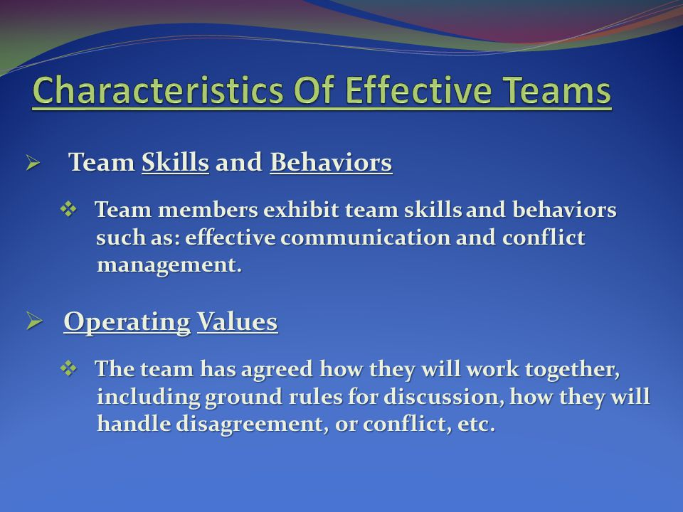 Team Skills and Behaviors Team Skills and Behaviors Team members exhibit team skills and behaviors Team members exhibit team skills and behaviors such as: effective communication and conflict such as: effective communication and conflict management.