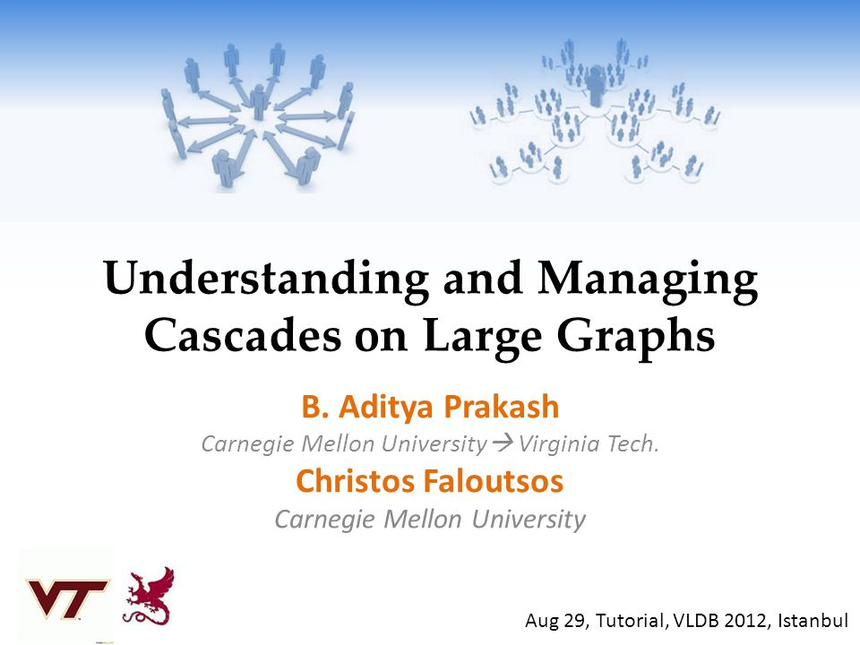 Understanding and Managing Cascades on Large Graphs B. Aditya Prakash Carnegie Mellon University Virginia Tech. Christos Faloutsos Carnegie Mellon Uni
