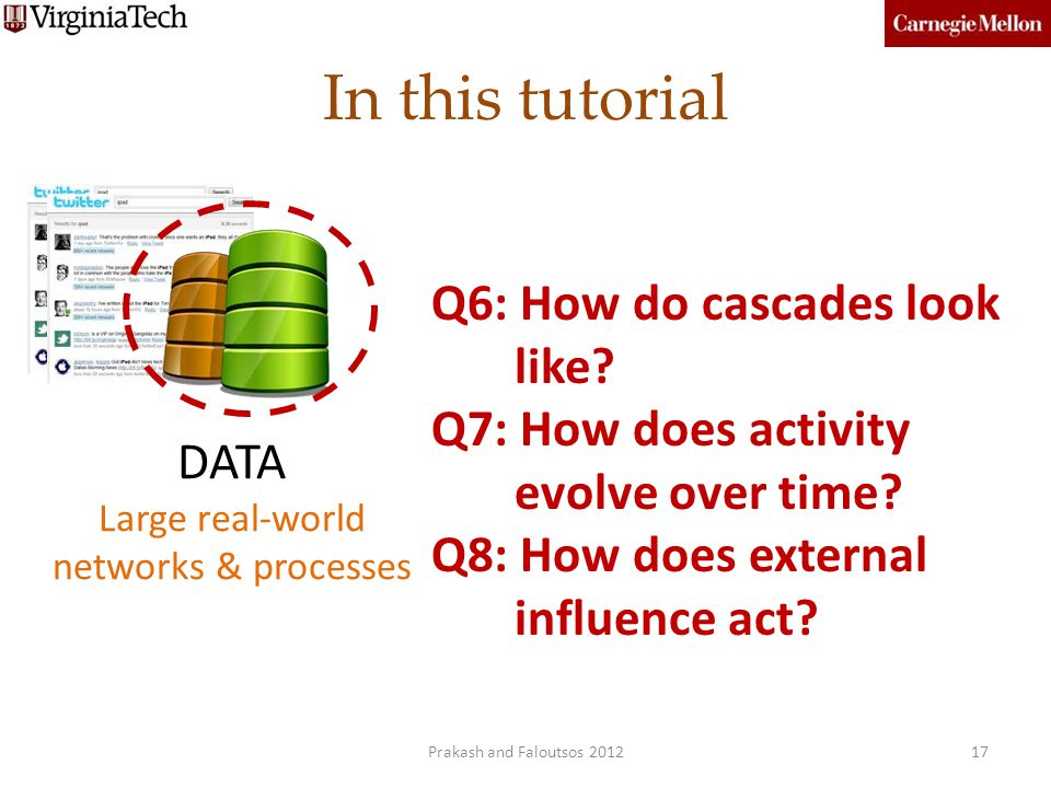 In this tutorial 17 DATA Large real-world networks & processes Q6: How do cascades look like? Q7: How does activity evolve over time? Q8: How does ext
