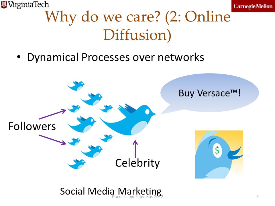 Why do we care? (2: Online Diffusion) Dynamical Processes over networks Celebrity Buy Versace! Followers 9 Social Media Marketing Prakash and Faloutso