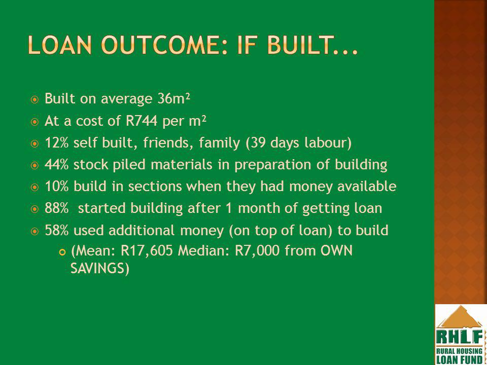 Built on average 36m² At a cost of R744 per m² 12% self built, friends, family (39 days labour) 44% stock piled materials in preparation of building 10% build in sections when they had money available 88% started building after 1 month of getting loan 58% used additional money (on top of loan) to build (Mean: R17,605 Median: R7,000 from OWN SAVINGS)