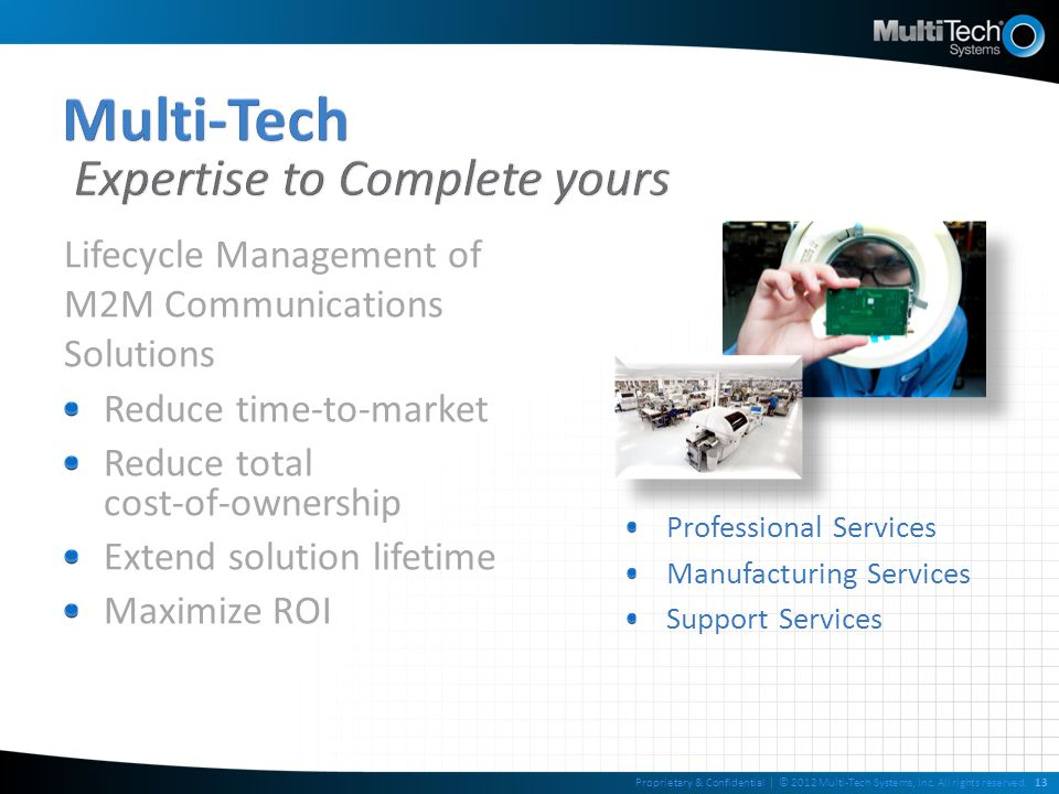 Lifecycle Management of M2M Communications Solutions Reduce time-to-market Reduce total cost-of-ownership Extend solution lifetime Maximize ROI Profes