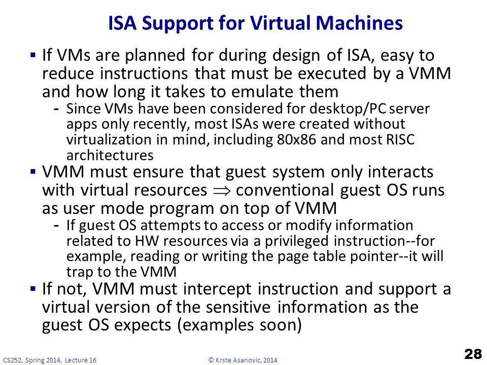© Krste Asanovic, 2014CS252, Spring 2014, Lecture 16 ISA Support for Virtual Machines If VMs are planned for during design of ISA, easy to reduce inst