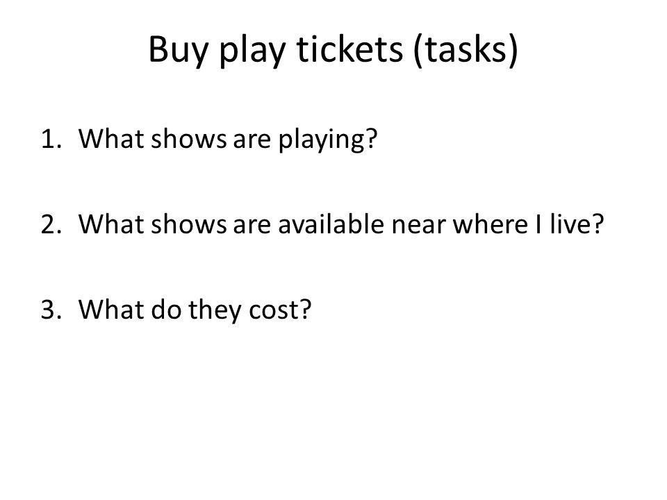 Buy play tickets (tasks) 1.What shows are playing? 2.What shows are available near where I live? 3.What do they cost?