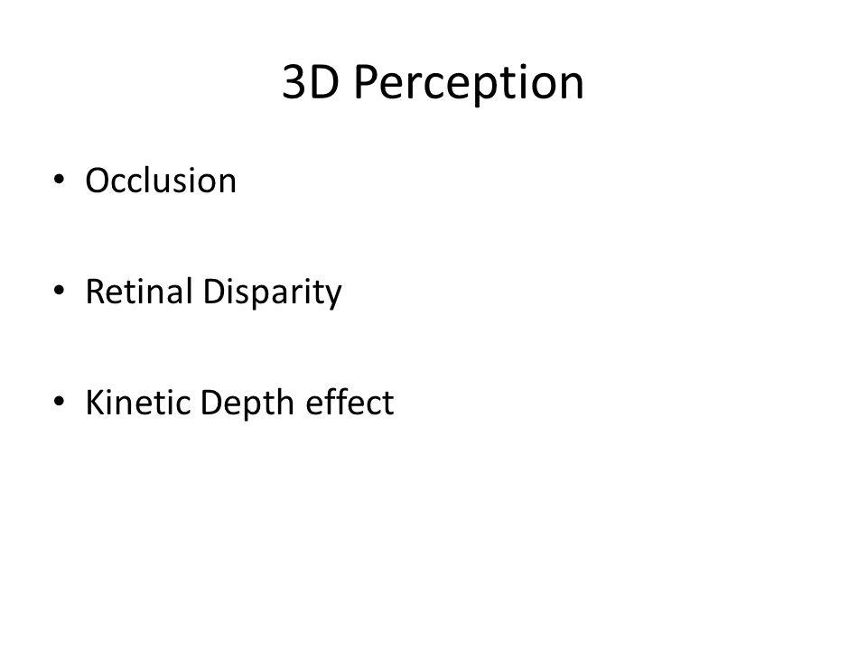 3D Perception Occlusion Retinal Disparity Kinetic Depth effect