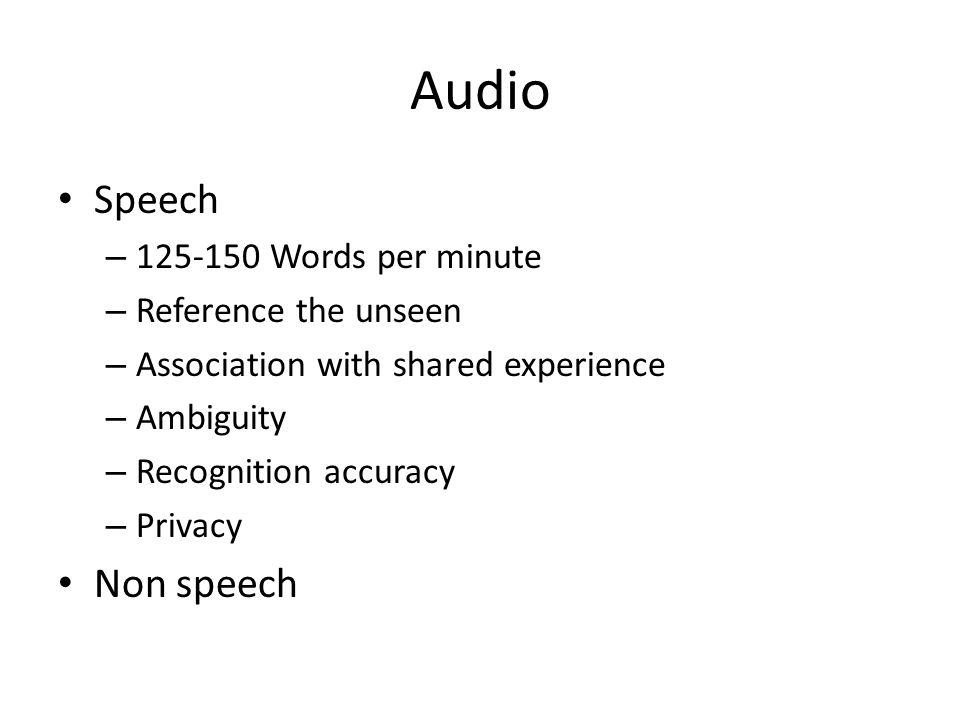 Audio Speech – 125-150 Words per minute – Reference the unseen – Association with shared experience – Ambiguity – Recognition accuracy – Privacy Non s