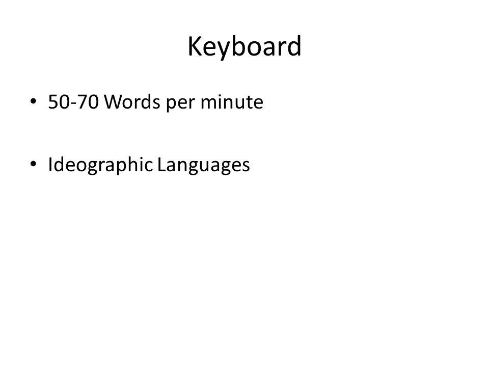 Keyboard 50-70 Words per minute Ideographic Languages