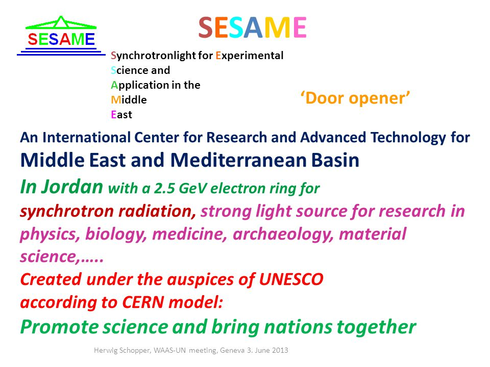 SESAMESESAME An International Center for Research and Advanced Technology for Middle East and Mediterranean Basin In Jordan with a 2.5 GeV electron ring for synchrotron radiation, strong light source for research in physics, biology, medicine, archaeology, material science,…..