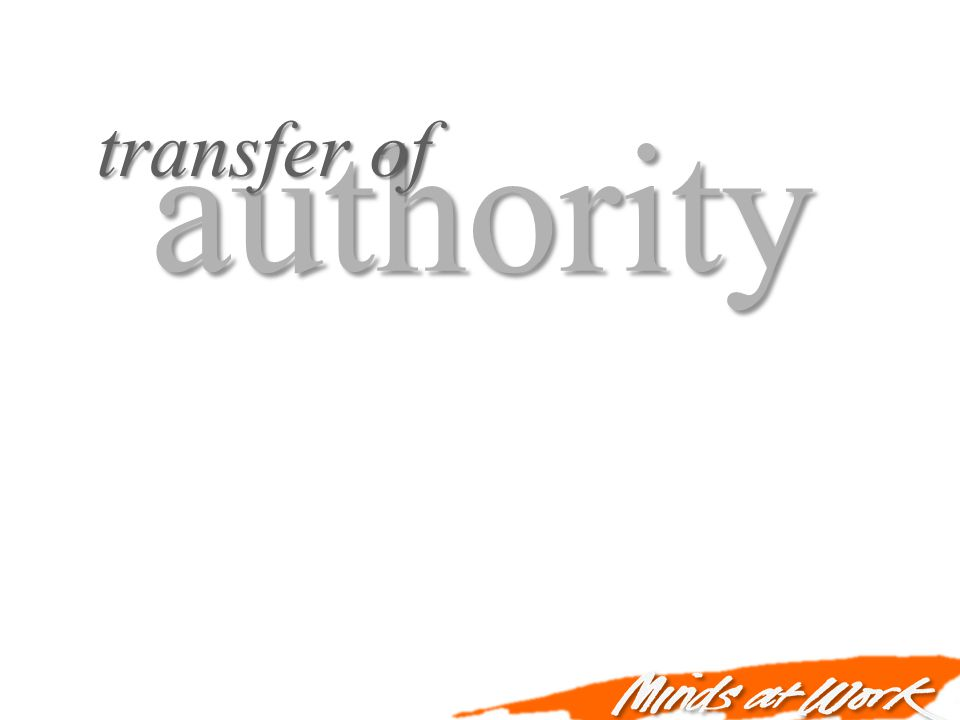 authority transfer of reculture need for