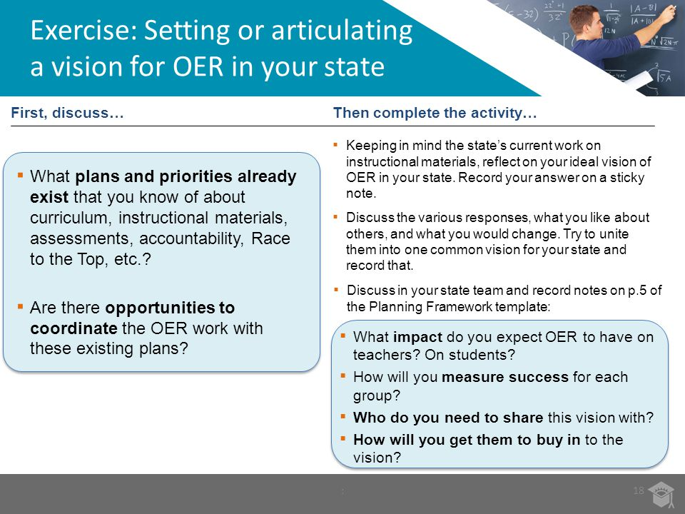 :18 Then complete the activity… Exercise: Setting or articulating a vision for OER in your state Keeping in mind the states current work on instructio
