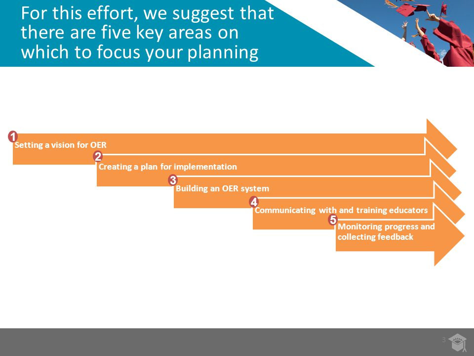 For this effort, we suggest that there are five key areas on which to focus your planning 3 Setting a vision for OERCreating a plan for implementation