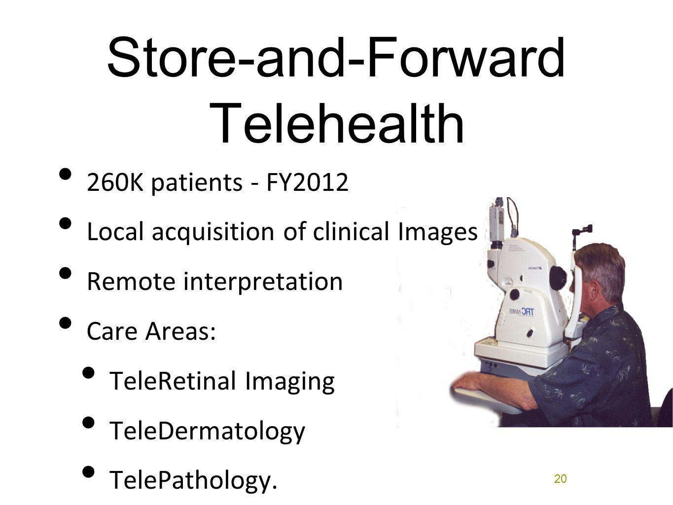 Store-and-Forward Telehealth 260K patients - FY2012 Local acquisition of clinical Images Remote interpretation Care Areas: TeleRetinal Imaging TeleDer