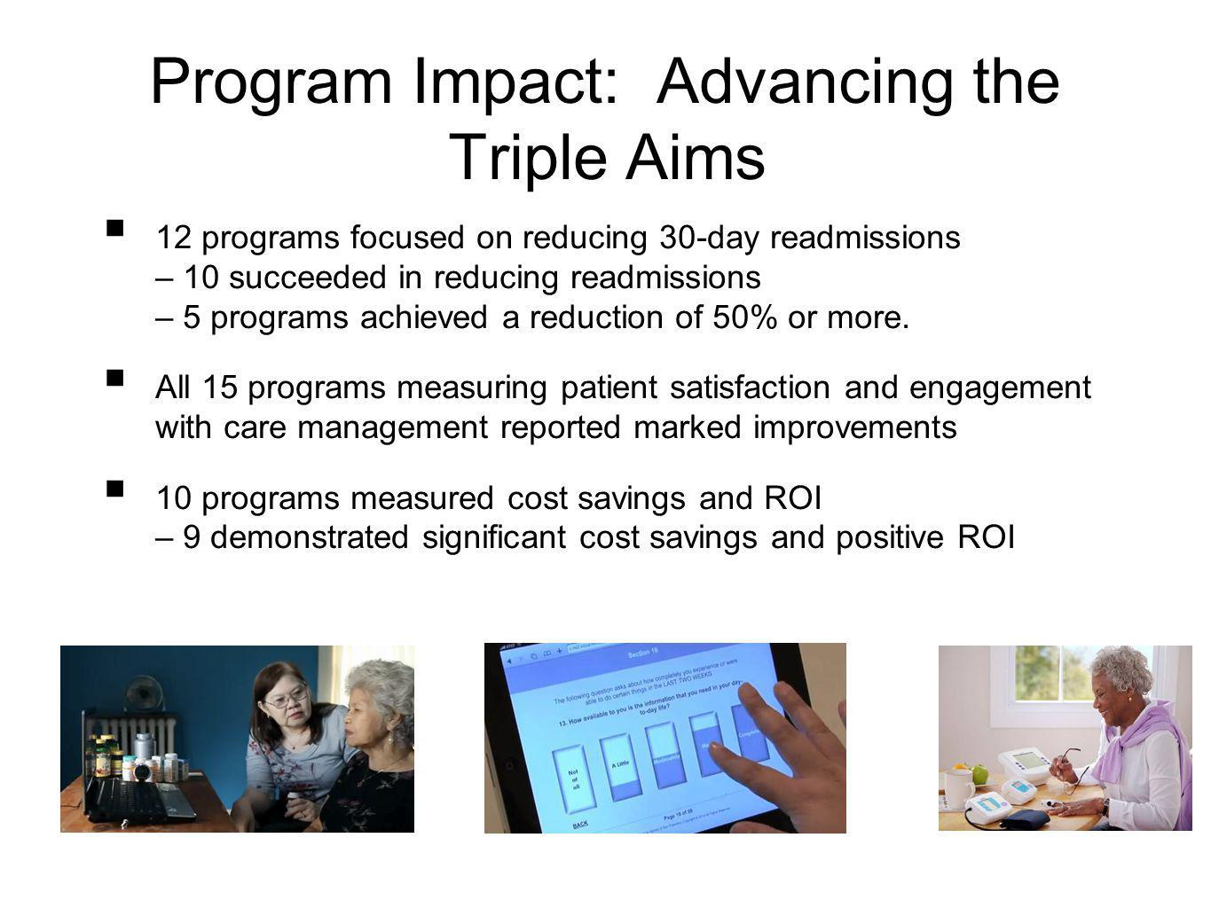 Program Impact: Advancing the Triple Aims 12 programs focused on reducing 30-day readmissions – 10 succeeded in reducing readmissions – 5 programs achieved a reduction of 50% or more.