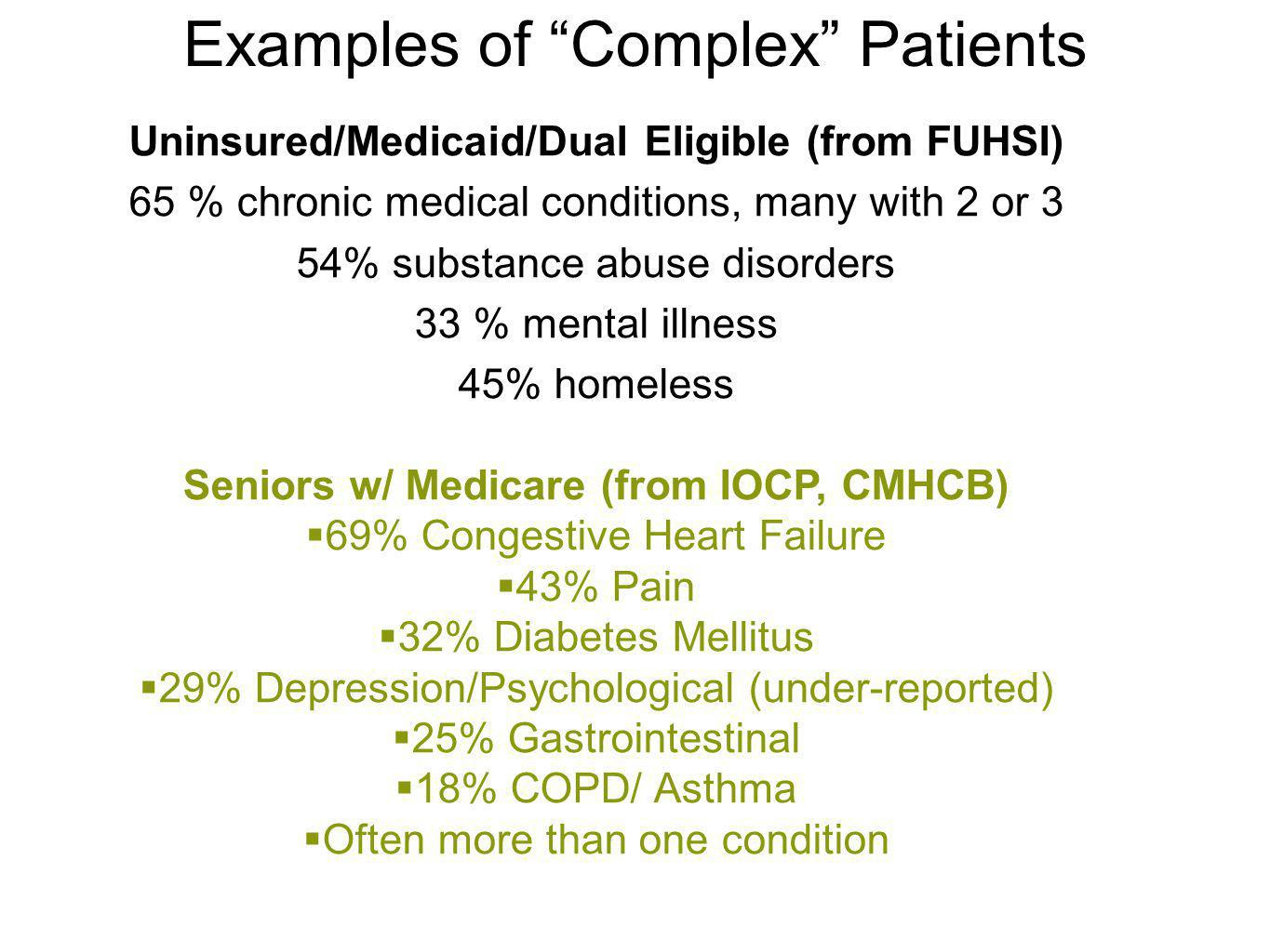 Examples of Complex Patients Uninsured/Medicaid/Dual Eligible (from FUHSI) 65 % chronic medical conditions, many with 2 or 3 54% substance abuse disor