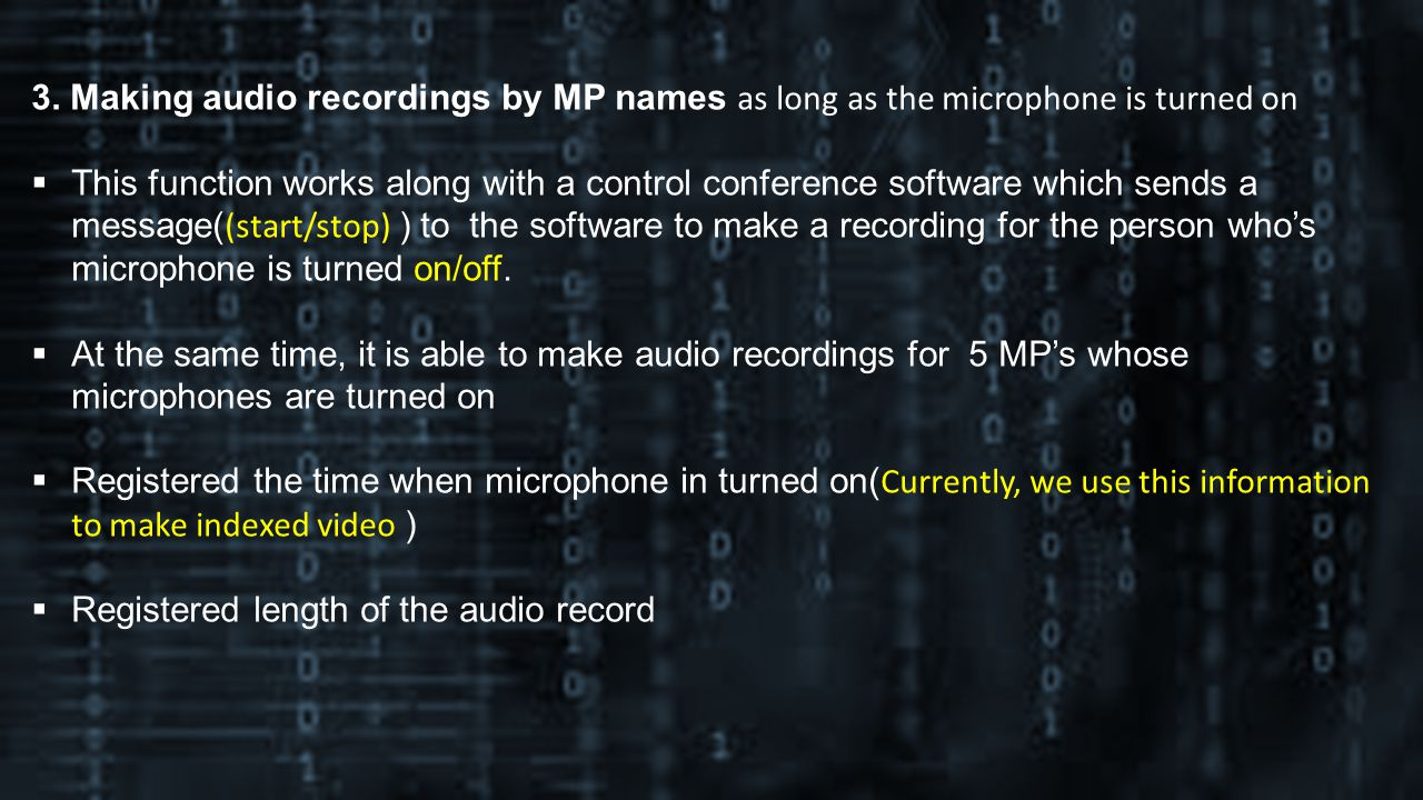 3. Making audio recordings by MP names as long as the microphone is turned on This function works along with a control conference software which sends