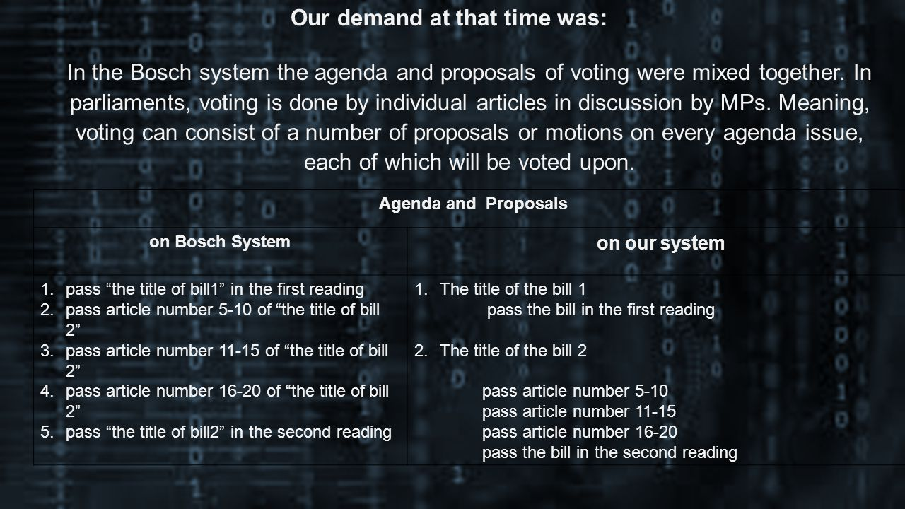 Our demand at that time was: In the Bosch system the agenda and proposals of voting were mixed together.