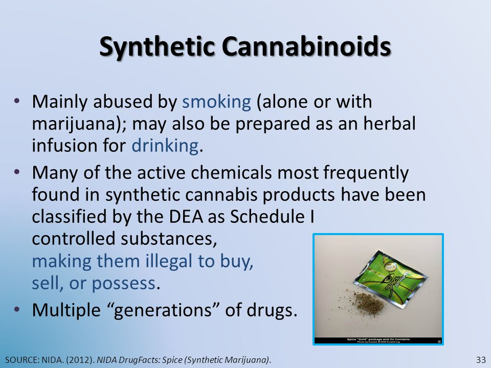 Synthetic Cannabinoids Mainly abused by smoking (alone or with marijuana); may also be prepared as an herbal infusion for drinking. Many of the active