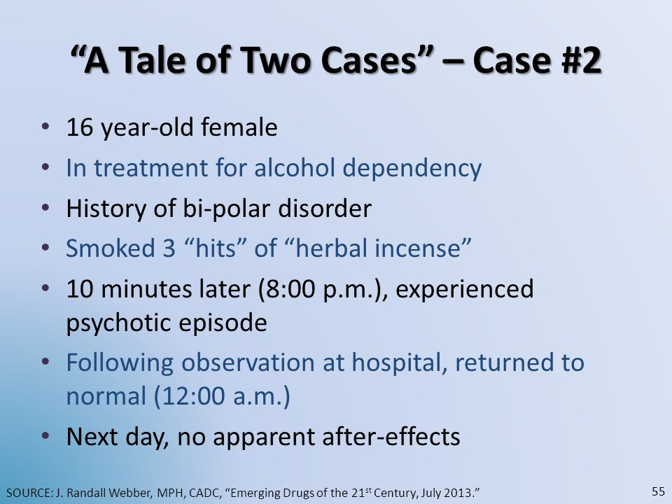 A Tale of Two Cases – Case #2 16 year-old female In treatment for alcohol dependency History of bi-polar disorder Smoked 3 hits of herbal incense 10 m
