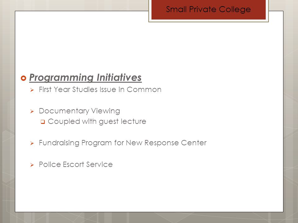 Programming Initiatives First Year Studies Issue in Common Documentary Viewing Coupled with guest lecture Fundraising Program for New Response Center Police Escort Service Small Private College