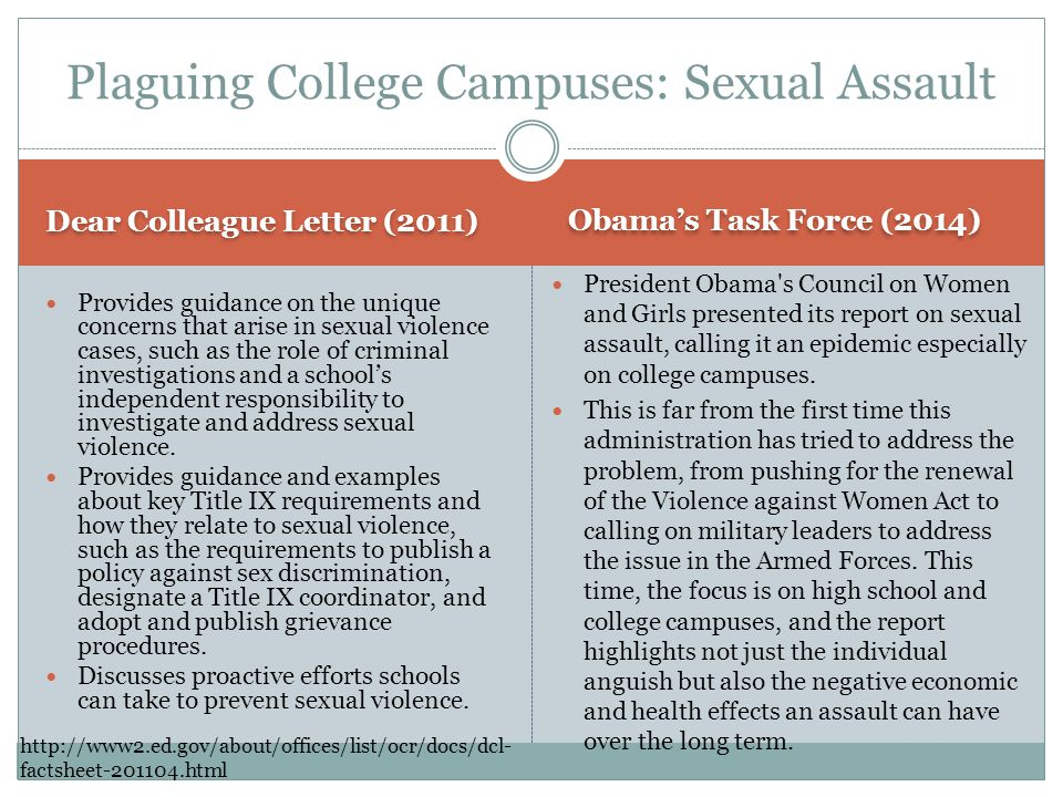 Dear Colleague Letter (2011) Obamas Task Force (2014) Provides guidance on the unique concerns that arise in sexual violence cases, such as the role of criminal investigations and a schools independent responsibility to investigate and address sexual violence.