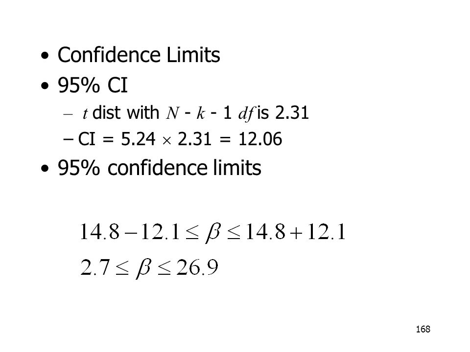 168 Confidence Limits 95% CI – t dist with N - k - 1 df is 2.31 –CI = 5.24 2.31 = 12.06 95% confidence limits